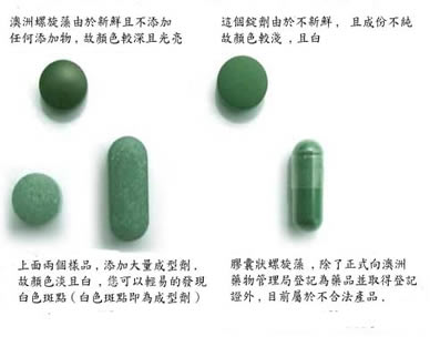 Visual comparison between different Spirulina pills